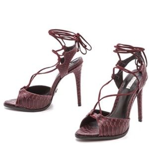 SCHUTZ Oriana Croc Embossed Leather Wrap Tie Heels